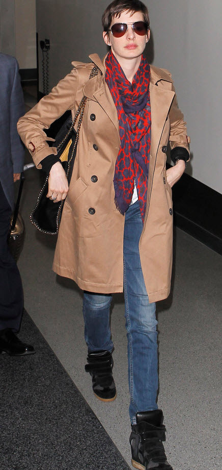 Anne Hathaway in Wedge Sneakers