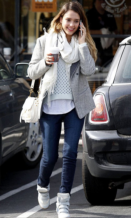 Jessica Alba wears wedge sneakers