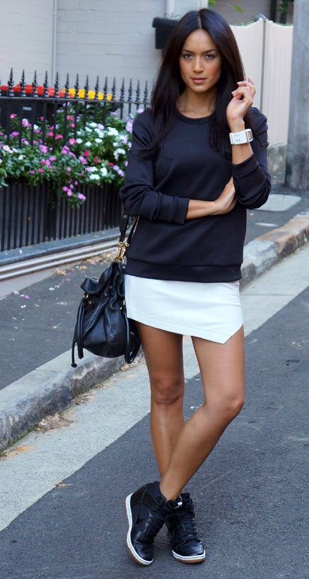 Wedge Sneakers with a Skirt