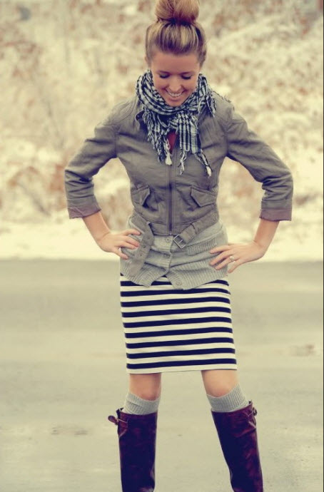 Knee High Boots with Striped Skirt