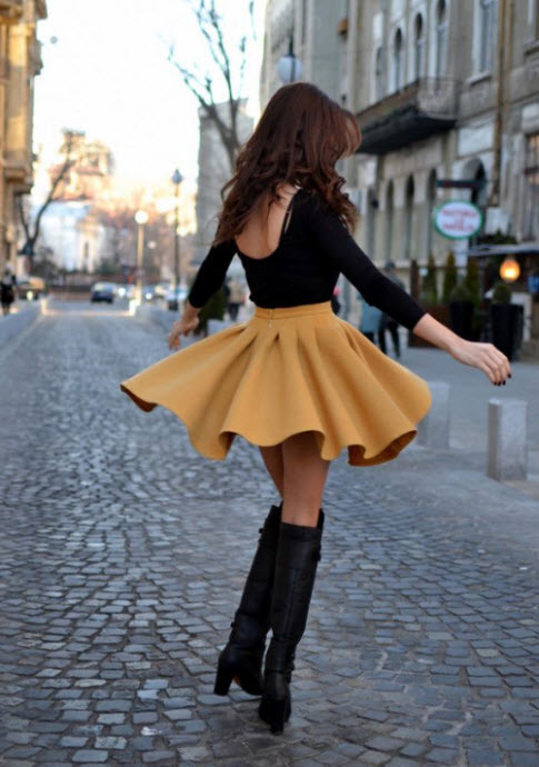 Above the Knee Boots with Flared Skirt