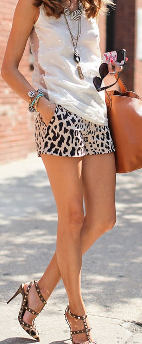 Valentino Rock Stud in Leopard with Shorts