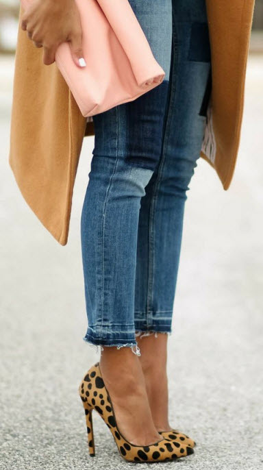 Leopard Heels with Patch Denim