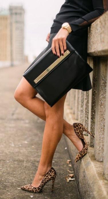 Leopard Heels with Skirt