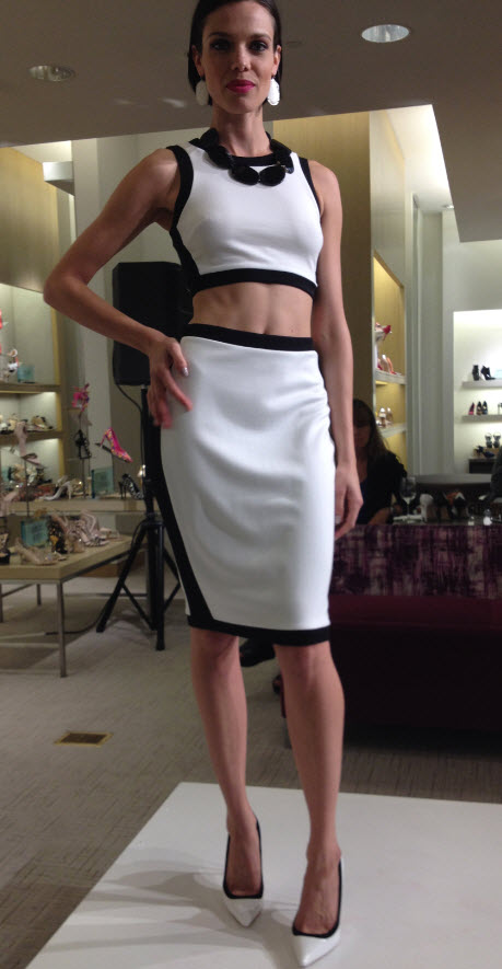 Black and White cropped top and skirt
