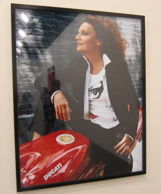 Diane Von Furstenberg on a Ducati