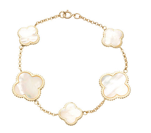 La Preciosa Gold over Silver Mother of Pearl Clover Bracelet $48