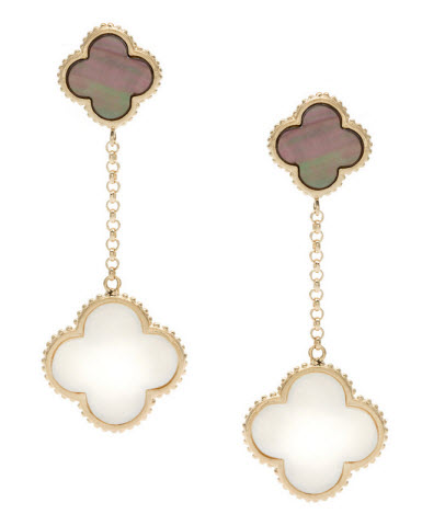 La Preciosa Gold over Silver Mother of Pearl and Abalone Clover Earrings $53
