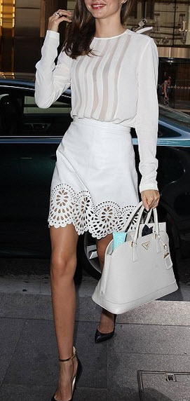 Miranda Kerr in White Leather Skirt Cutout