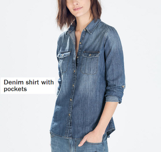 Denim shirt with Pockets by Zara