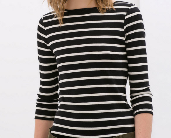 Striped three quarter sleeve tee