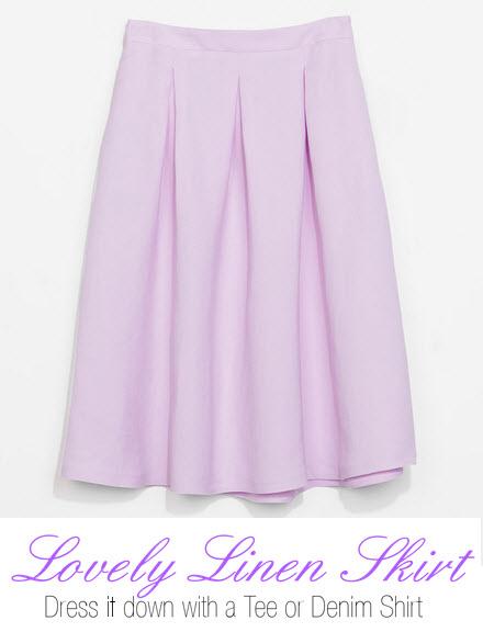 Lavender Linen Skirt by Zara.com