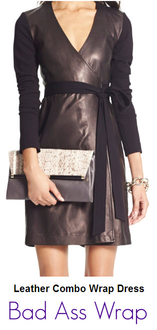 DVF, leather combo wrap
