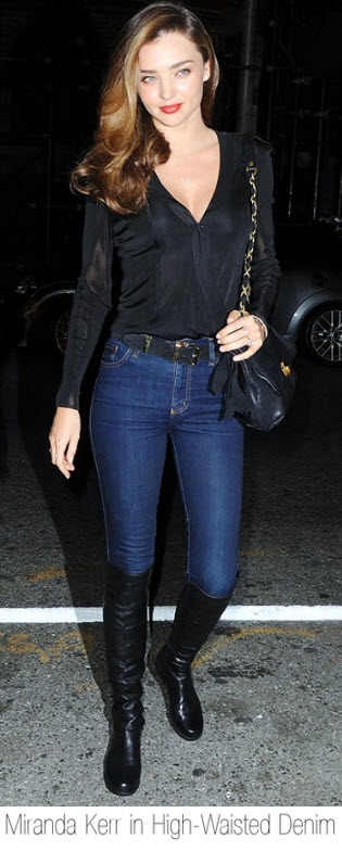 Miranda Kerr in High-Waisted Denim and Over the Knee Boots