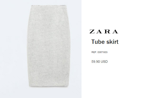 Textured Tube Skirt, Zara