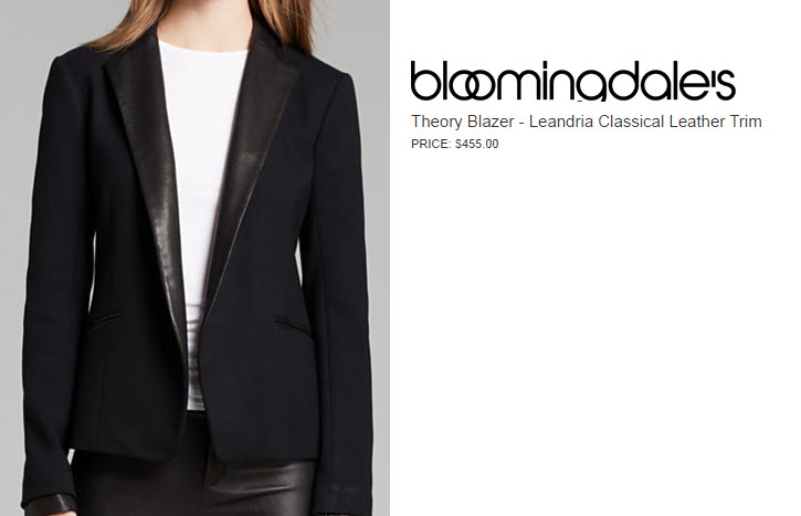 Theory Blazer with Leather Trim