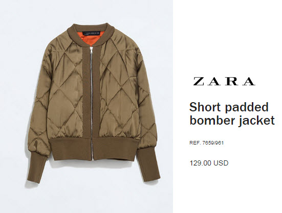 Short padded bomber jacket by Zara