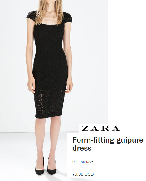 Form fitting guipure dress by Zara