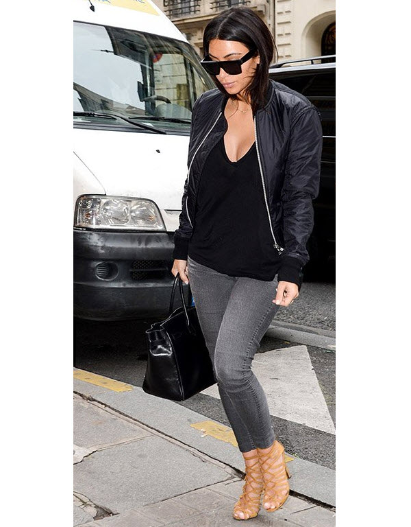Kim Kardashian in Black Padded Bomber Jacket