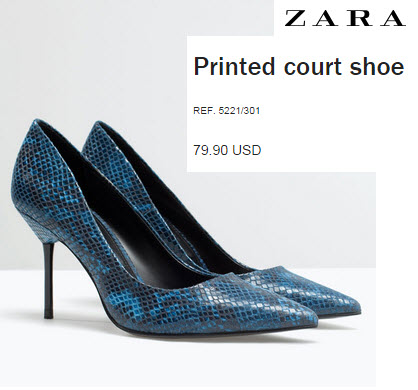 Python Court Shoe by Zara