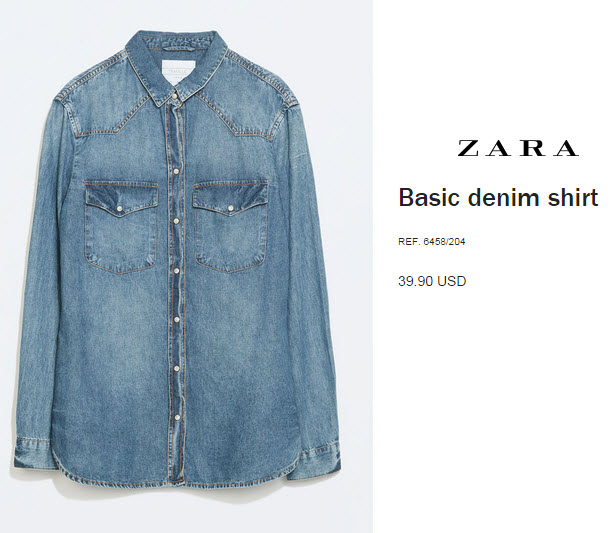 Basic Denim Shirt by Zara
