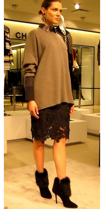 Lace Pencil Skirt with Oversized Sweater