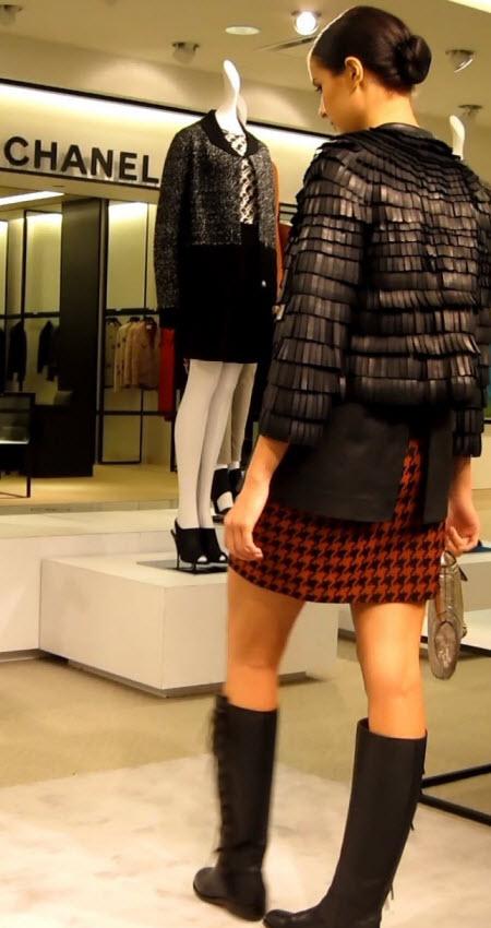 Leather Jacket and Mini Skirt