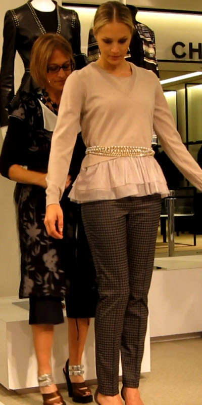 Ruffled Hemmed Sweater with Pearl Chain Belt