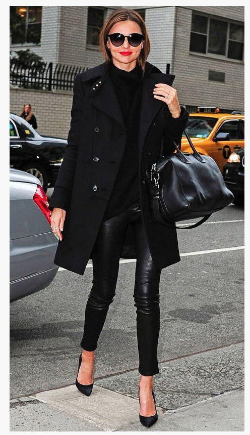 Miranda Kerr in Black Double Breasted Coat and Leather Skinny Trousers
