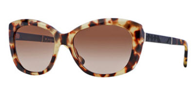 London Rectangle Sunglasses, Light Brown Havana by Burberry