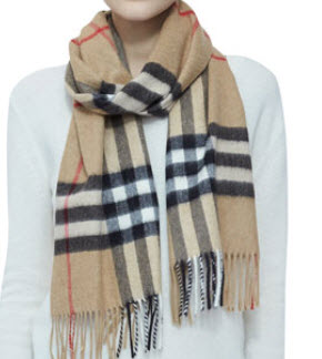 Giant Iconic Check Cashmere Scarf, Camel by Burberry