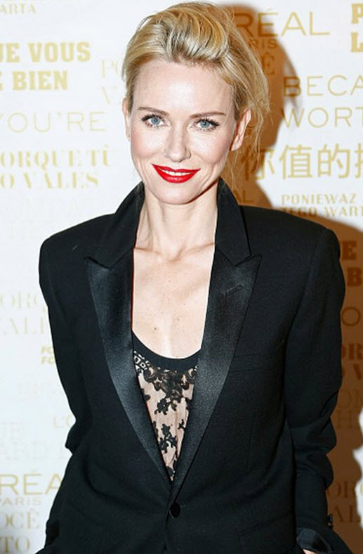 Naomi Watts in Lace and Satin Blazer