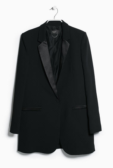 Satin Detail Blazer by MANGO