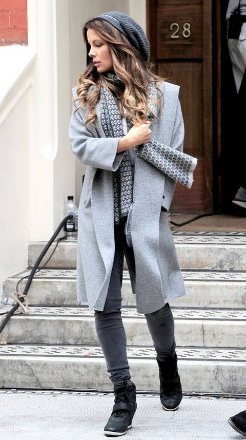 Kate Beckinsale in Winter Grey Essentials
