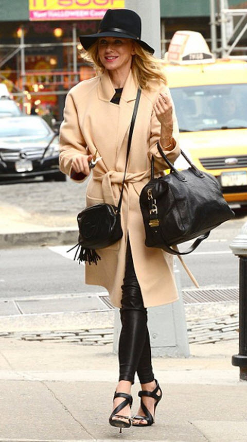 Naomi Watts in Skinny Leather Pants in Camel Coat