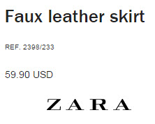Faux Leather Skirt by Zara
