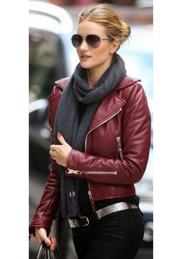 Rosie Huntington-Whiteley in Burgandy Biker Jacket
