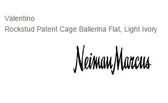 Rockstud Patent Cage Ballerina Flat, Light Ivory by Valentino