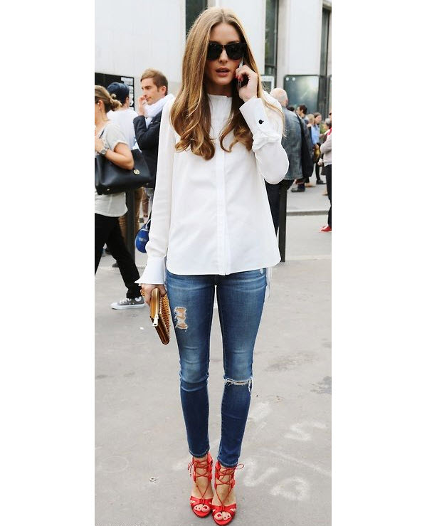 Olivia Palermo wears Red, White & Blue Jeans
