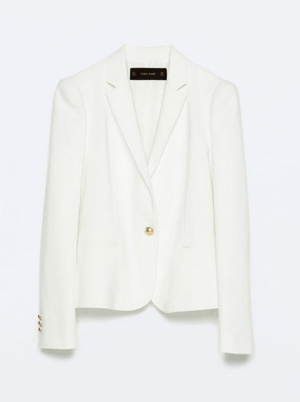 White Blazer with Gold Button by Zara