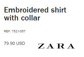 Embroidered shirt with collar from Zara