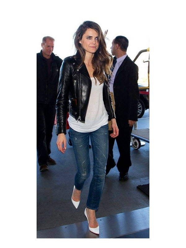 Carrie Russell in Moto Jacket and White Pumps