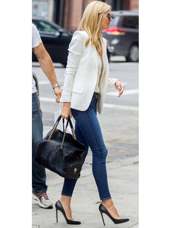 Heidi Klum Street Style in a White Blazer