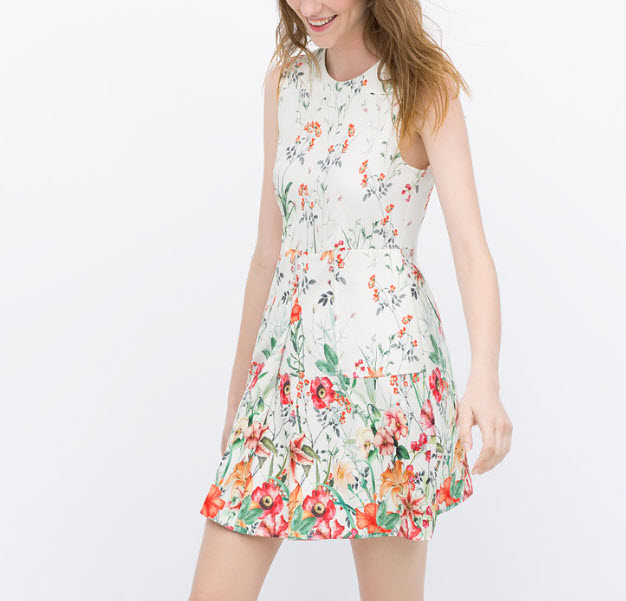 PRINTED DRESS WITH PLEATED POCKETS