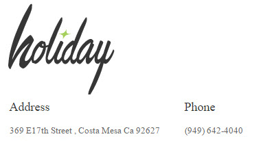 Holiday Salon, Costa Mesa California