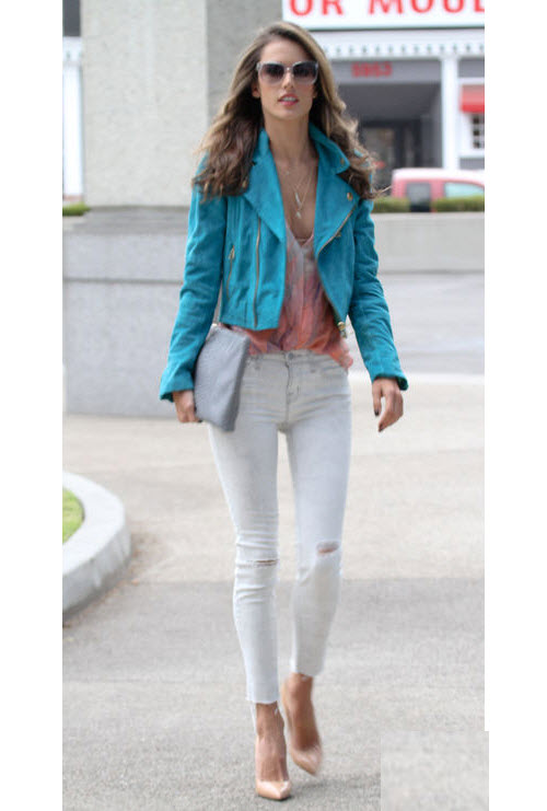Alessandra Ambrosio in Moto Jacket and Distressed Denim