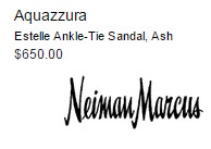 Aquazzura Estelle Ankle-Tie Sandal, Ash