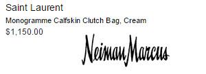 Saint Laurent Monogramme Calfskin Clutch Bag, Cream