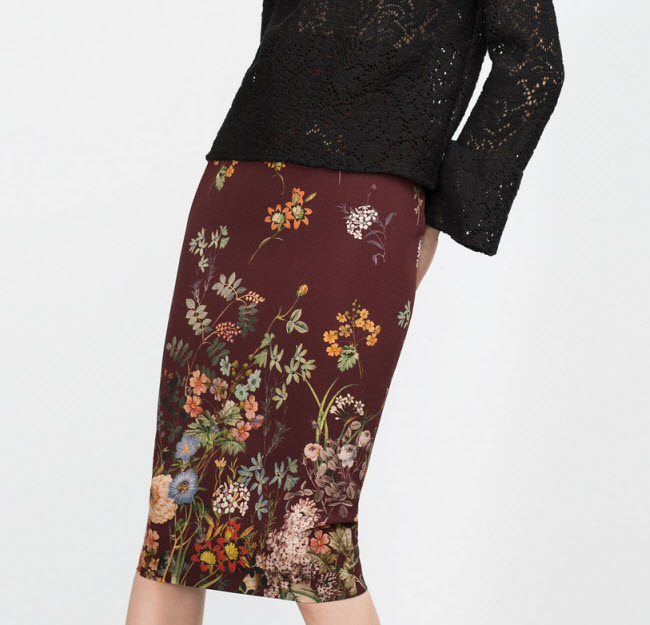 FLORAL TUBE SKIRT by Zara