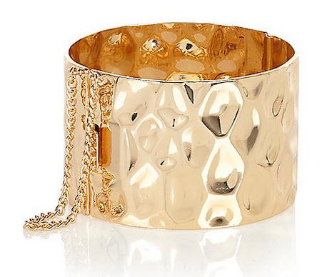 Gold tone hammered cuff bracelet